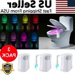 3 PCS Toilet Night Light LED Motion Activated Sensor Bathroo