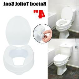 "4"" Adjustable Height Medical Elevated Toilet Seat Riser Safe"
