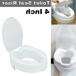 4 Inch Raised Toilet Seat Medical Elevated Riser w/ Cover Ba