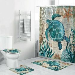 4PCS Sea Style Non Slip Toilet Polyester Cover Mat Set Bathr