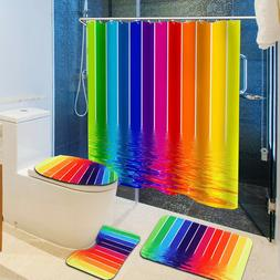 4x Bathroom Rainbow Shower Curtain Toilet Seat Cushion Bath