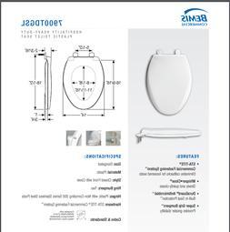 BEMIS 7900TDGSL Toilet Seat, With Cover, Plastic, Elongated,
