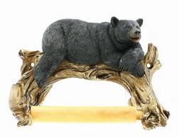 Black Bear Lounging Toilet Paper Holder Decorative Cabin Dec