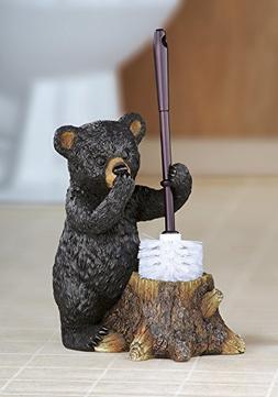 Black Bear Toilet Brush Set - Decorative Holder and Brush