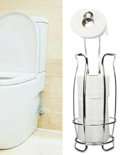 Toilet Paper Holder Stand With Shelf, 4 Rolls Holder,Silver