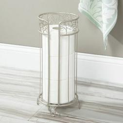 mDesign Decorative Free Standing Toilet Paper Holder Stand w