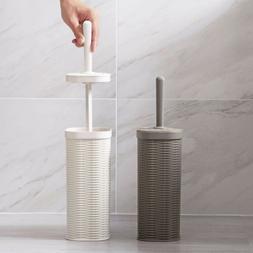 Freestanding Plastic Toilet Bowl Brush and Holder Bathroom C