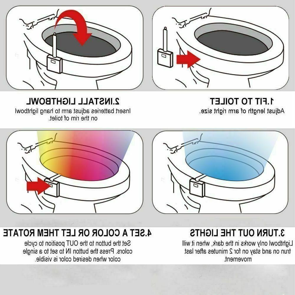 3 PCS Toilet Light Sensor 8 Color