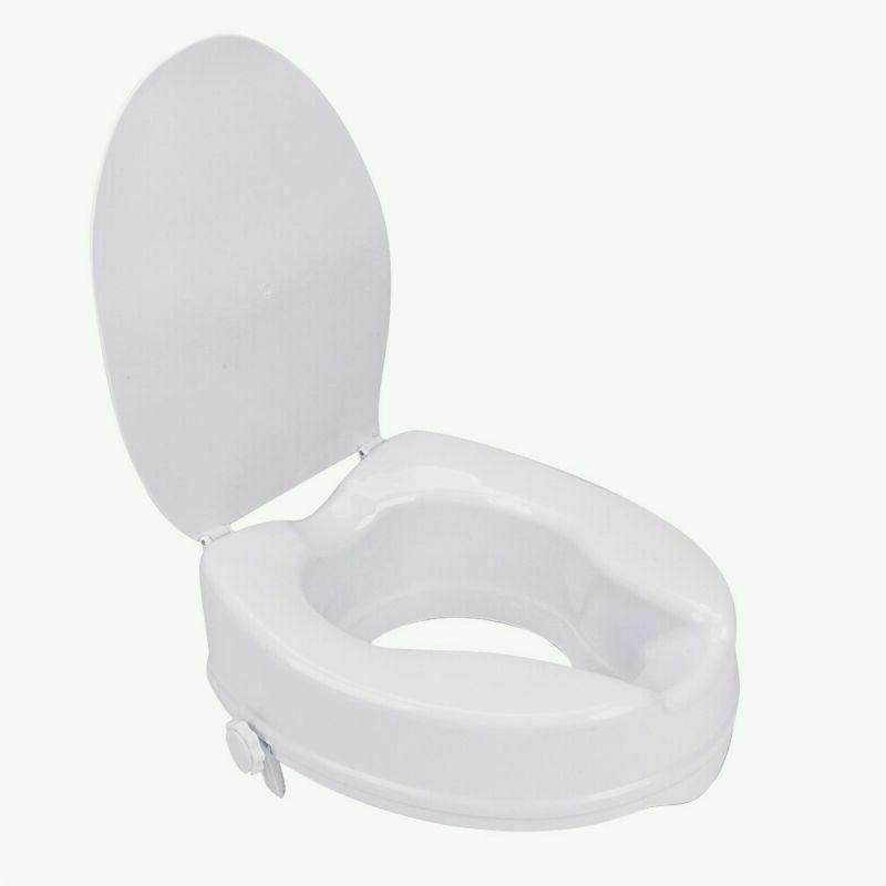 """4"""" Portable Raised Elevated Toilet Seat Riser+Lid With Cover"""