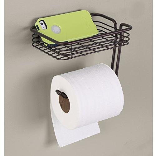 InterDesign Holder with Shelf Wall Mounted Roll for Bathroom,