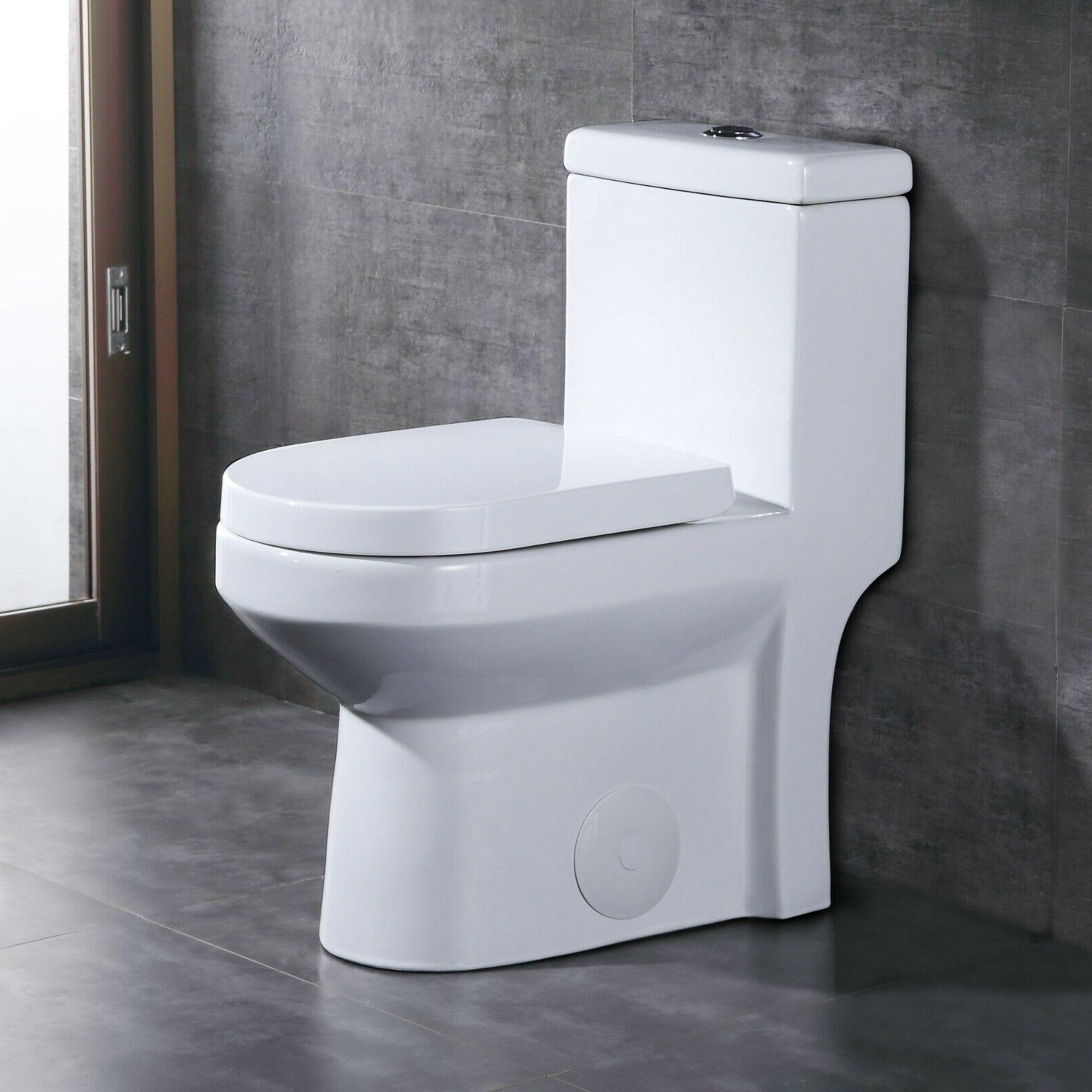 compact dual flush round one piece toilet