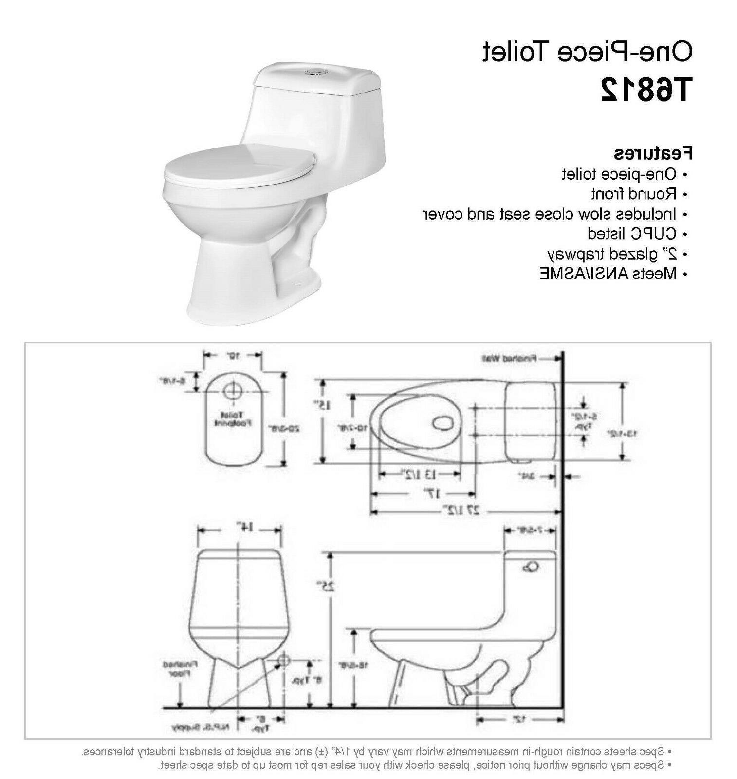 DeVille 6812W One Piece Toilet w/ Soft