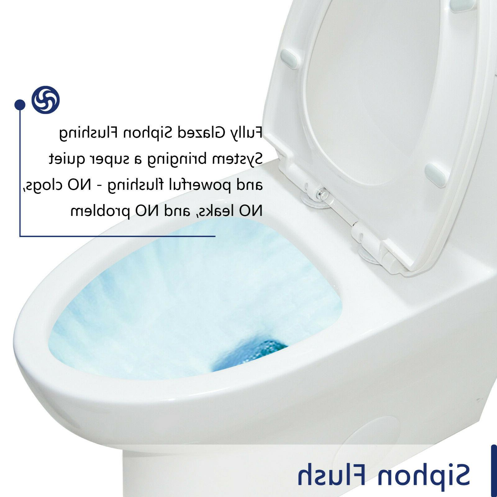 DeerValley Elongated One-Piece Porcelain Toilet w/ Closing