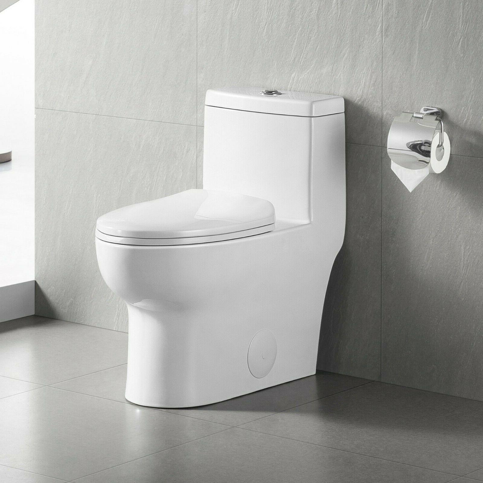 dual flush elongated one piece porcelain toilet