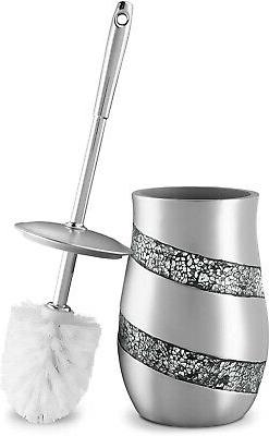 DWELLZA Toilet Bowl Cleaner Brush and Holder Set – Silver