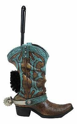 Ebros Cowboy Boot with Spur Toilet Bowl Cleaner Brush and Ba