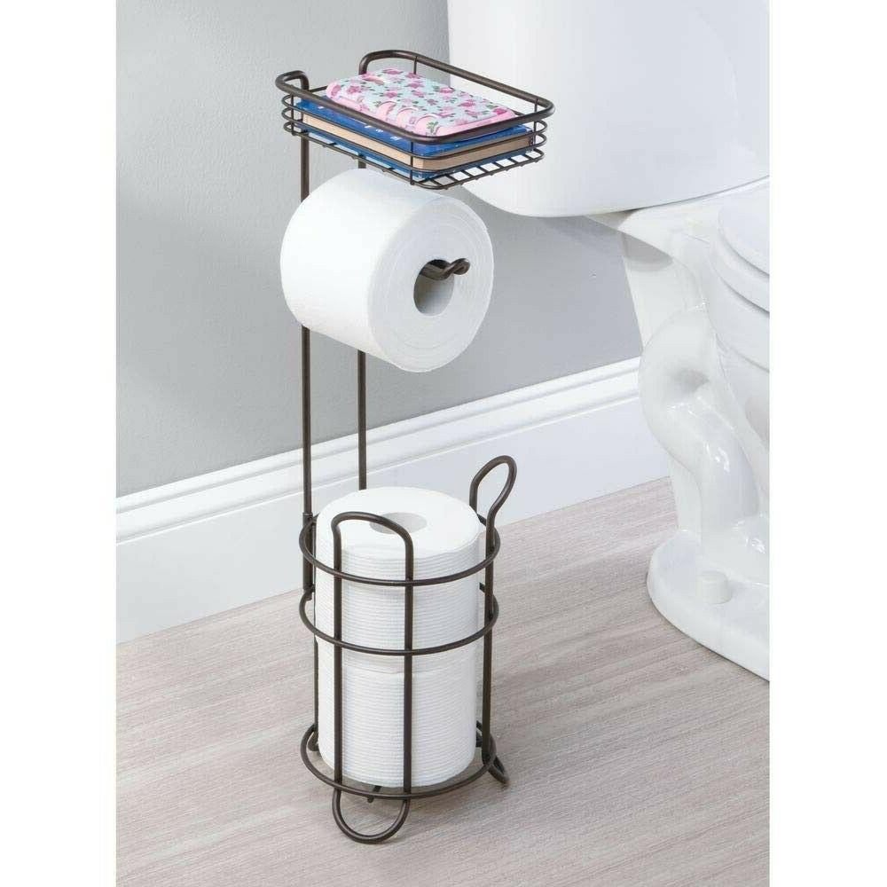 Free Standing Toilet Paper Holder Dispenser Bathroom Tissue