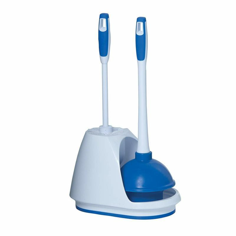 Heavy Duty Toilet Plunger and Bathroom Bowl Brush Caddy Set