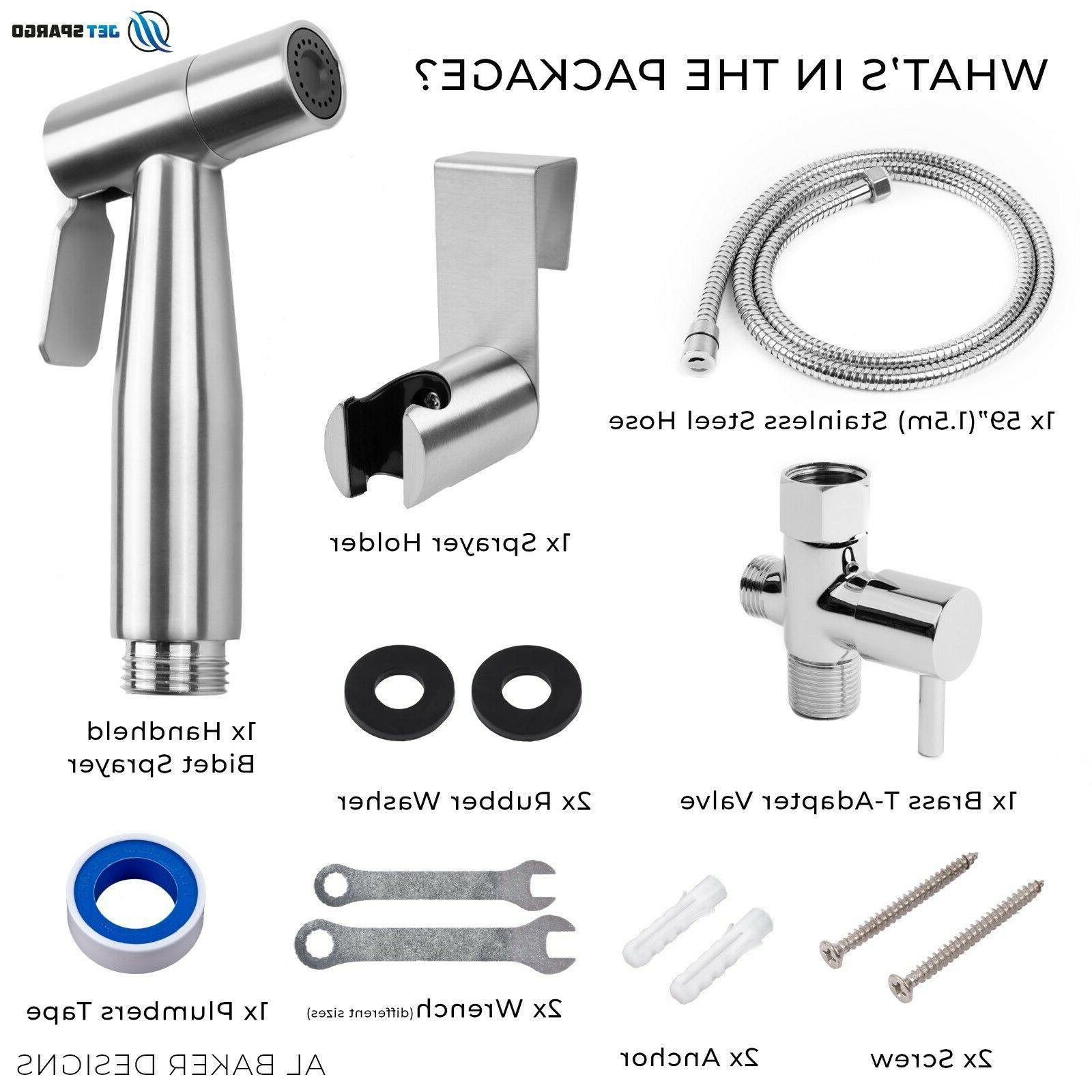 JET SPARGO Held Toilet Bidet Sprayer Shower Kit Adaptor