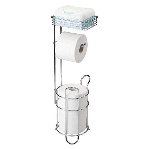 mDesign Freestanding Metal Toilet Stand and Storage Mobile Phone - Bathroom Storage 3 Rolls - Chrome