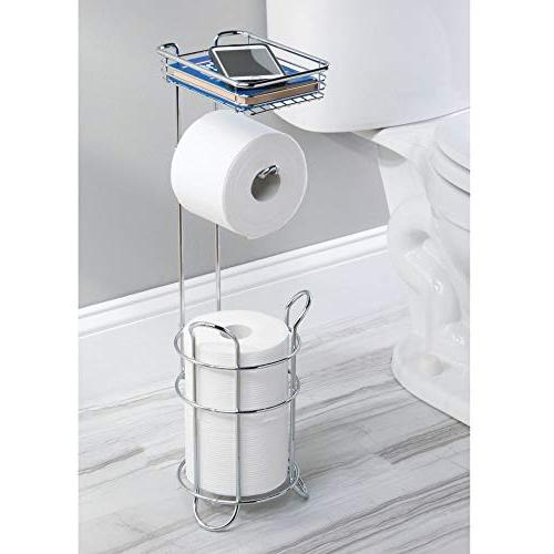 mDesign Freestanding Metal Wire Toilet Paper Holder Stand and with Storage Shelf Mobile Phone - Storage Organization - 3 Mega Rolls Chrome