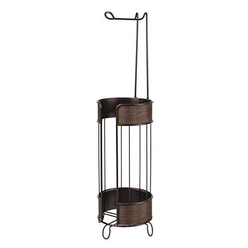 mDesign Decorative Roll Holder Dispenser Storage Organizer Holding Extra Rolls Bathroom -