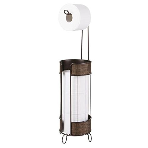 mDesign Decorative Metal Roll Dispenser Storage Extra Bathroom - Bronze