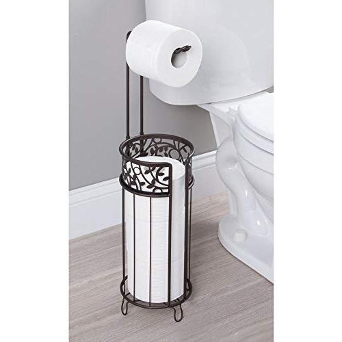 mDesign Metal Paper Holder and Storage for Rolls of Reserve Tissue for Bathroom Storage - Floral Pattern