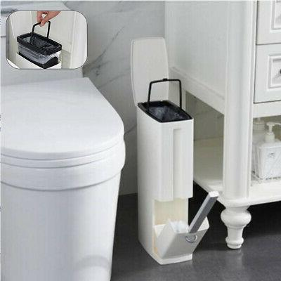 Narrow Trash Toilet Brush Bathroom Dustbin Storage Container 3L