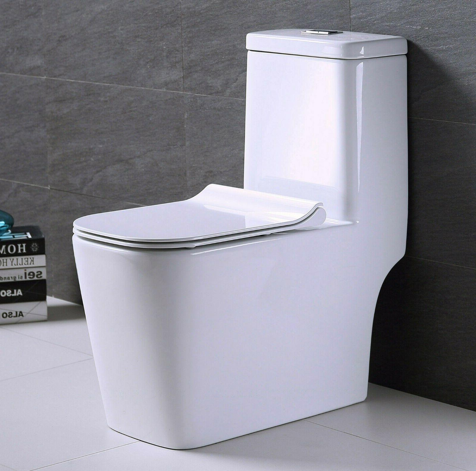 one piece toilet elongated square bowl soft