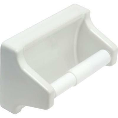 one piece white plastic toilet paper holder