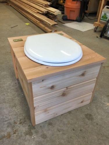 sawdust composting toilet with urine diverter cedar