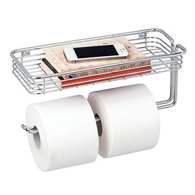 mDesign Toilet Tissue Paper Holder and Multi-Purpose Shelf -