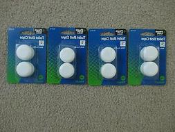 LOT OF 8 NEW ROUND PLASTIC TOILET BOWL BOLT CAPS BLISTER PAC