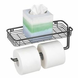mDesign Wall Mount Toilet Paper Holder with Shelf for Bathro