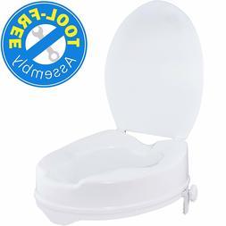 """Vaunn Medical Clamp-on 4"""" Raised Toilet Seat Riser Standard"""