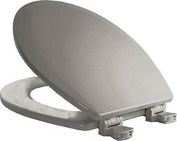 Molded Wood Round Toilet Seat, Silver