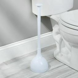 mDesign Plastic Toilet Bowl Plunger Set with Drip Tray, Comp