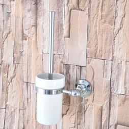 Polished Chrome Wall Mounted Toilet Brush set With Ceramic C