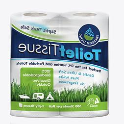 Septic Tank Safe Toilet Tissue 2-Ply 4 Rolls For RV Camping