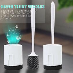 Toilet Bowl Brush Holder Set Brushes Cleaner Soft Bristle Ba
