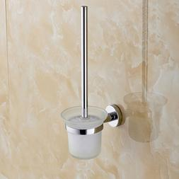 Toilet Brush Holder Set Wall Mounted Stainless Steel Handle