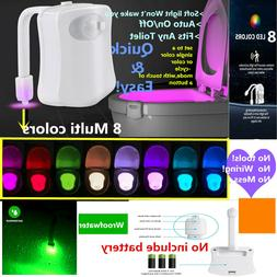 Toilet Night Light 8Color LED Motion Sensor Activated WC Bat