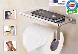 Toilet Paper Holder with Mobile Phone Storage Shelf Holders