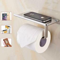 Toilet Paper Holder with Phone Shelf Wall Mounted Bathroom R