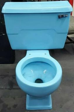 Vintage Blue Kohler Two-Piece Toilet 1970s