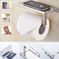 Wall Mounted Bathroom Toilet Paper Phone Holder Rack Tissue
