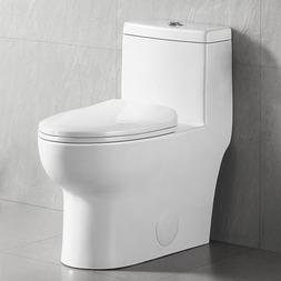 White Dual Flush Elongated One Piece Toilet With Soft Close