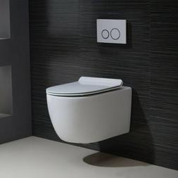 White Wall Mounted Dual Flush Elongated Bathroom Toilet with